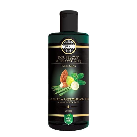TOPVET Olej tělový a koupelový - Bergamot a citronová tráva v mandlovém oleji Topvet